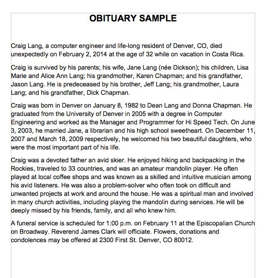 free obituary samples