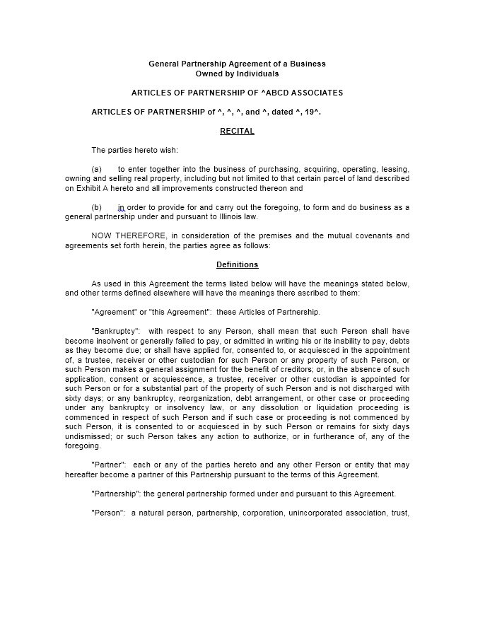 Business Partnership Agreement Template Partnership Agreement 1 - real estate partnership agreement