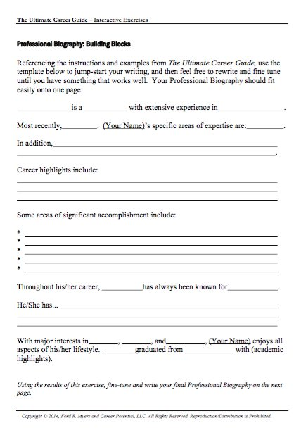 45 Free Biography Templates  Examples (Personal, Professional - professional document templates