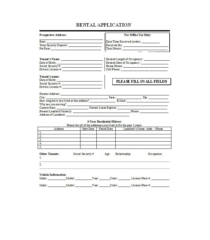 tenant information form template - Onwebioinnovate - Tenant Information Form