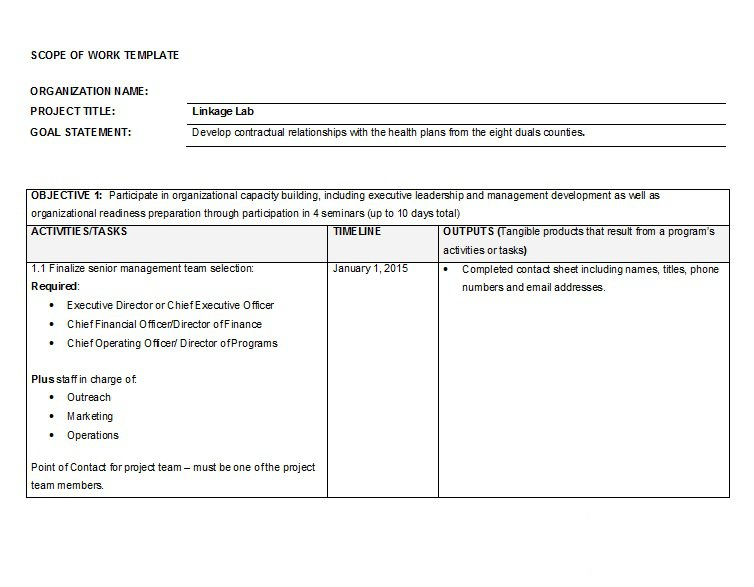 30 Ready-to-use Scope of Work Templates  Examples \u2013 Free Template