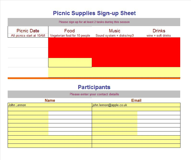 How to create a signup sheet in word