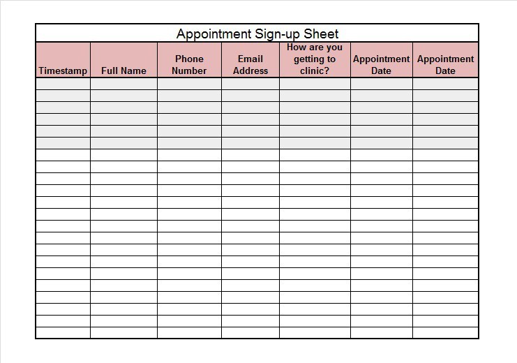 how to make a sign in sheet on excel