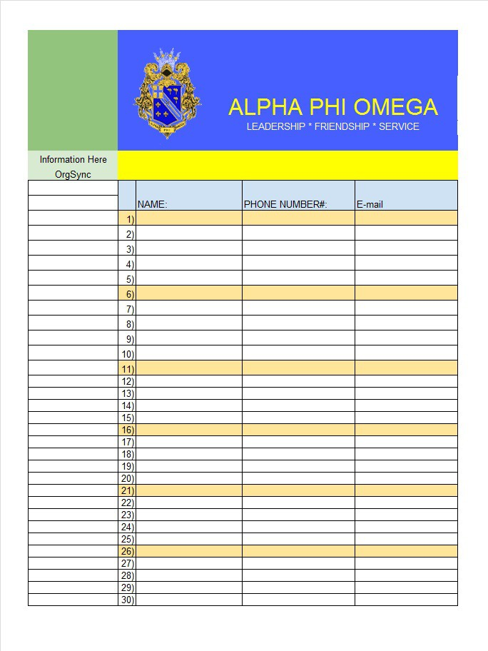 40 Sign Up Sheet / Sign In Sheet Templates (Word  Excel) \u2013 Free - name and phone number template