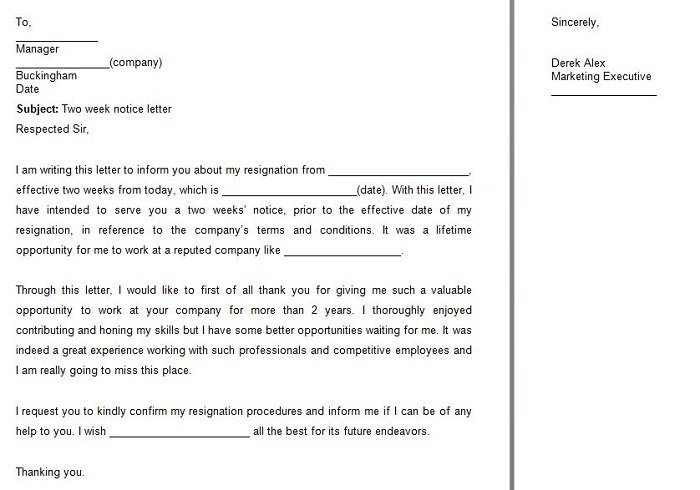 40 Two Weeks Notice Letters  Resignation Letter Samples \u2013 Free - two weeks notice letter