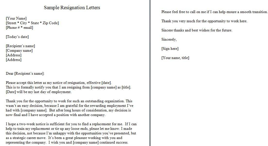 40 Two Weeks Notice Letters  Resignation Letter Samples \u2013 Free - two weeks notice