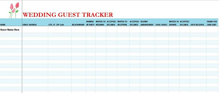 37 Free Beautiful Wedding Guest List  Itinerary Templates \u2013 Free - guest list template