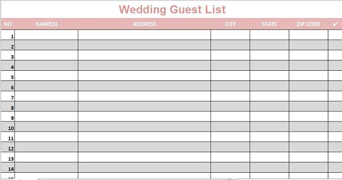 Sample Wedding Guest List Four Months Before Wedding Make Final - guest list sample