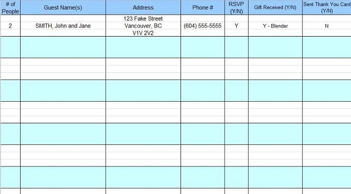 rsvp list template - Pinarkubkireklamowe