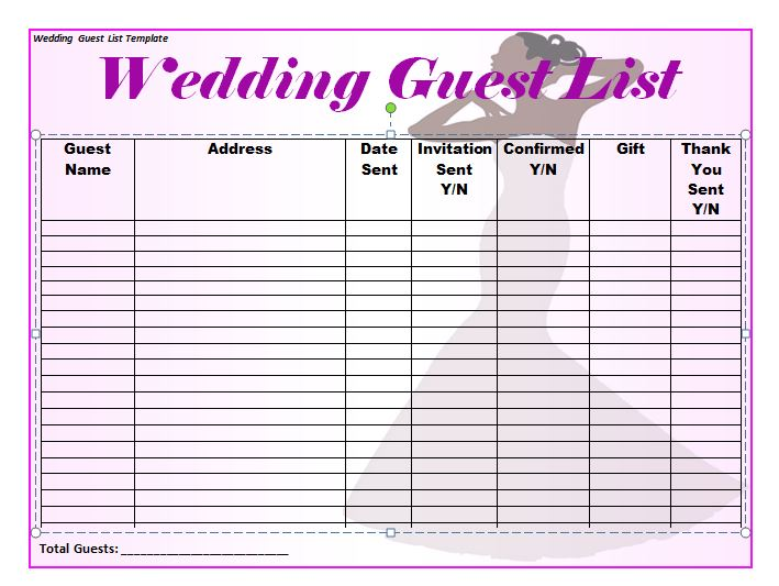 37 Free Beautiful Wedding Guest List  Itinerary Templates - Free