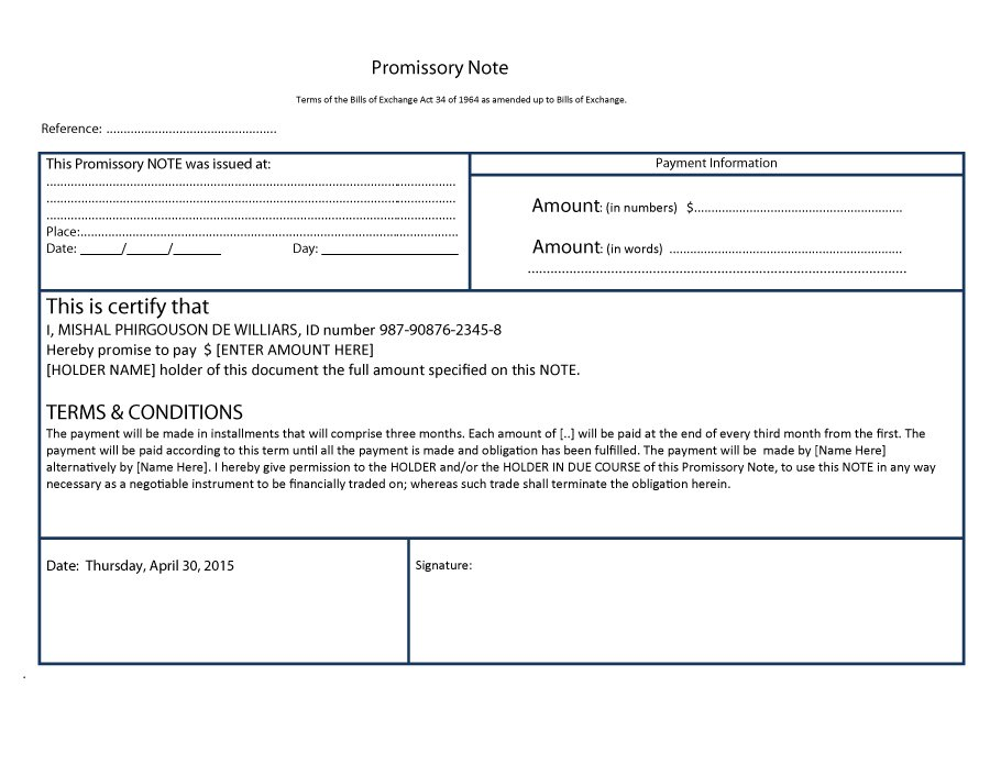 45 FREE Promissory Note Templates  Forms Word  PDF \u2013 Free - Note Template