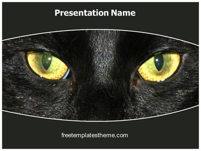 Free Halloween Black Cat PowerPoint Template freetemplatestheme