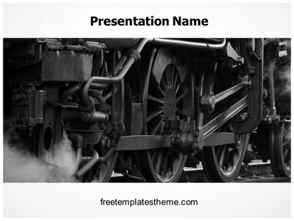 Free Steam Engine Train PowerPoint Template freetemplatestheme