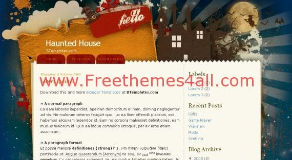 Abstract Haunted House Halloween Blogger Template - Freethemes4all - halloween website template