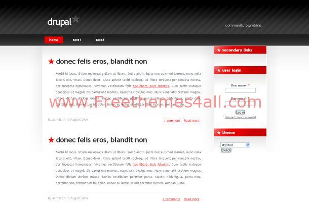 Free Business Simple Drupal Red Black Theme