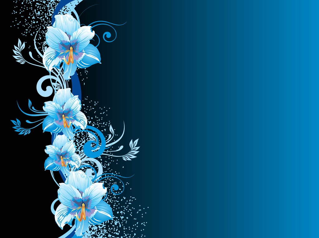 Blue Flowers Background Vector Art  Graphics freevector