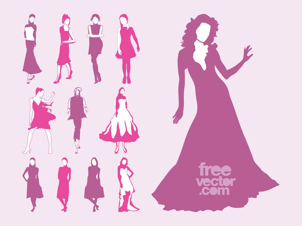 Vector Fashion Models Set Vector Art  Graphics freevector