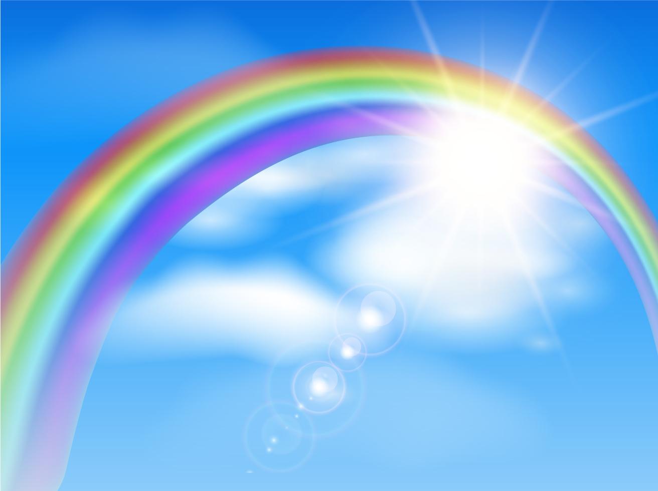 3d Blue Sky Wallpaper Beautiful Rainbow Background Illustration Vector Art