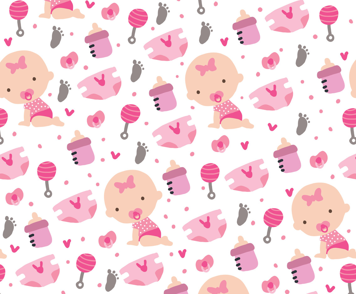 Pink Flower And Heart Wallpaper For Little Girls Baby Girl Pattern Vector Art Amp Graphics Freevector Com