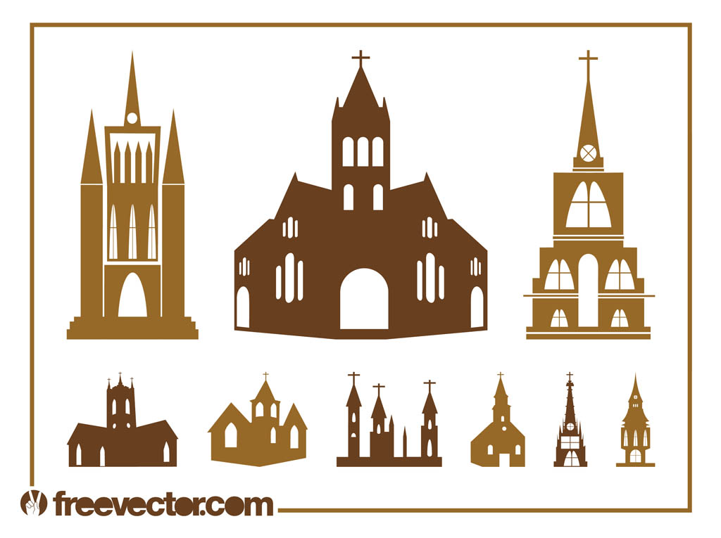 Church Silhouettes Set Vector Art  Graphics freevector