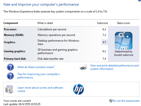Windows Experience Index 540x405 รีวิว HP Folio 13 Ultrabook จาก HP