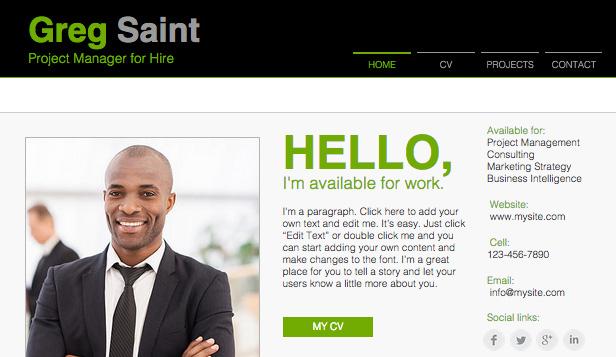 Online Resume Wix Template Wix Portfolio  CV Template - website resume template
