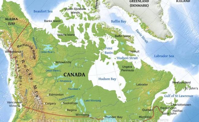 Pics Photos   Physical Map Of Canada And Usa Country Cityel