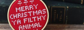 merry christmas ya filthy animal home alone themed cross stitch