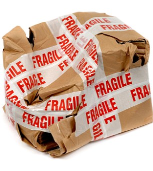 Damaged parcel with fragile tape. Image shot 01/2007. Exact date unknown.
