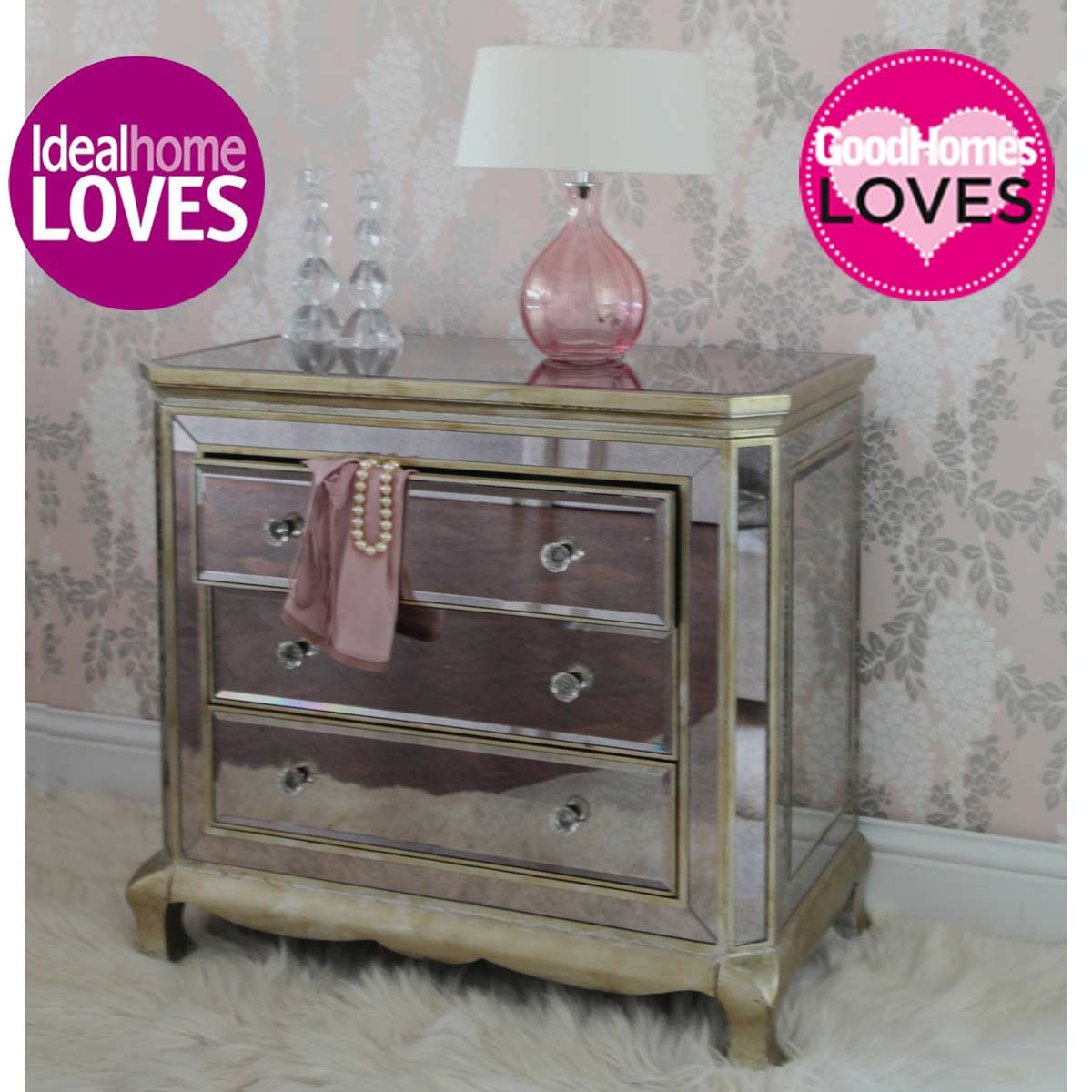 Venetian 3 drawer mirrored chest drawers french bedroom