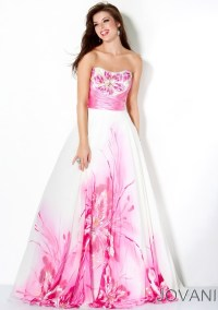 Jovani White and Pink Floral Empire Prom Dress 30015 ...