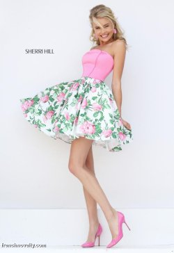 Majestic Sherri Hill Short Floral Print Prom French Novelty Cheap Formal Dresses Brisbane Cheap Formal Dresses Uk