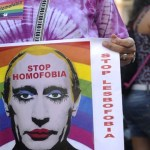 Protesting Russia's anti gay legislation.