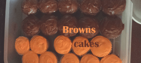 Chocolate and Peanut Butter Cupcakes in Cleveland Browns colors