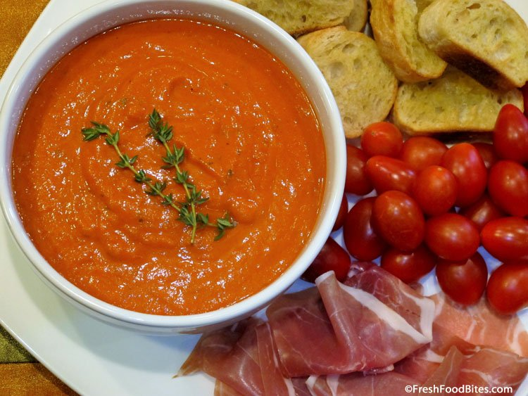 Creamy Roasted Pepper Tomato Sauce is delicious, full of vegetables and can be use in so many ways. Serve it over pasta, on an appetizer platter as a dipper, or over your favorite grilled meat or fish. Any way you serve it, it will be a hit!