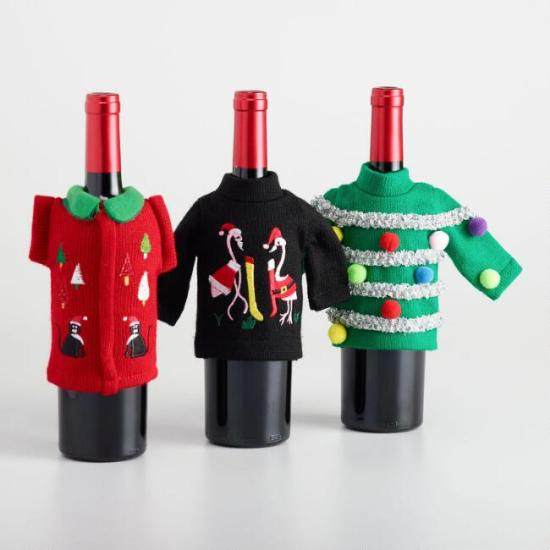 Ugly sweater wine holder