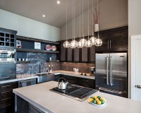 Kitchen Island, Lighting, Modern Home in Eugene, Oregon by