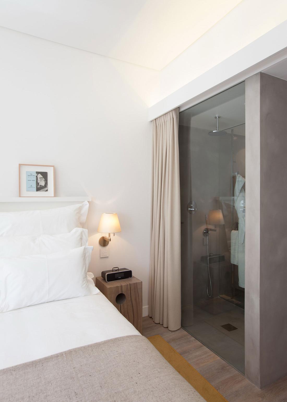 Shower room glass door boutique hotel in the heart of alfama lisbon