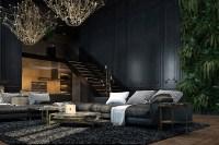 Large dark sofa, dark living room