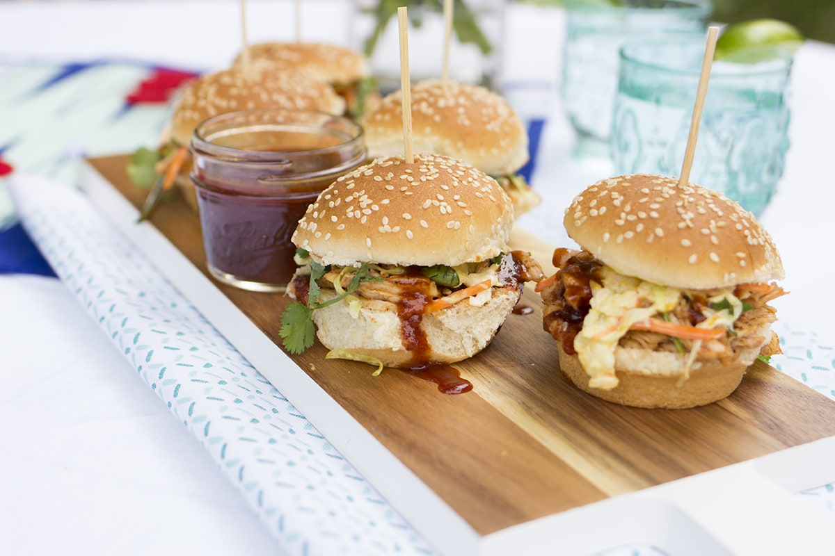 Barbecue Chicken Sliders with Mango Slaw
