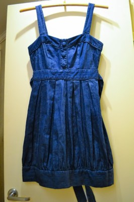 tulip denim dress before hem alteration