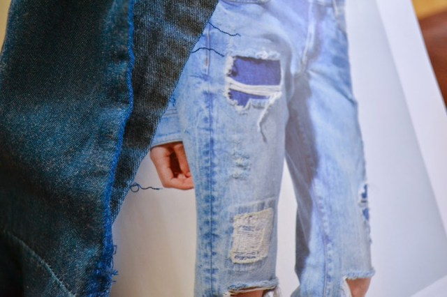 Denim ripped jeans with denim fabric