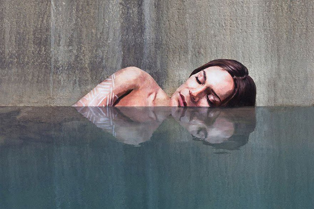 sean yoro mural of woman in water