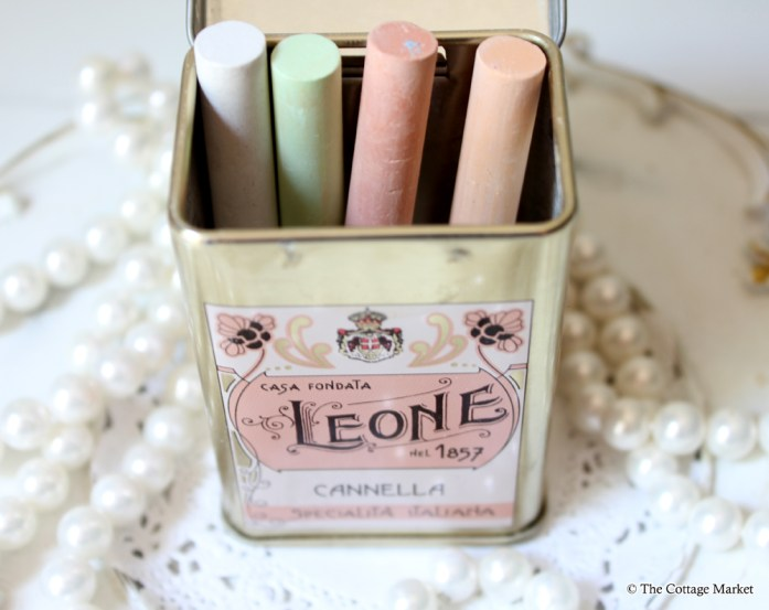 the cottage market tea tin chalk storage