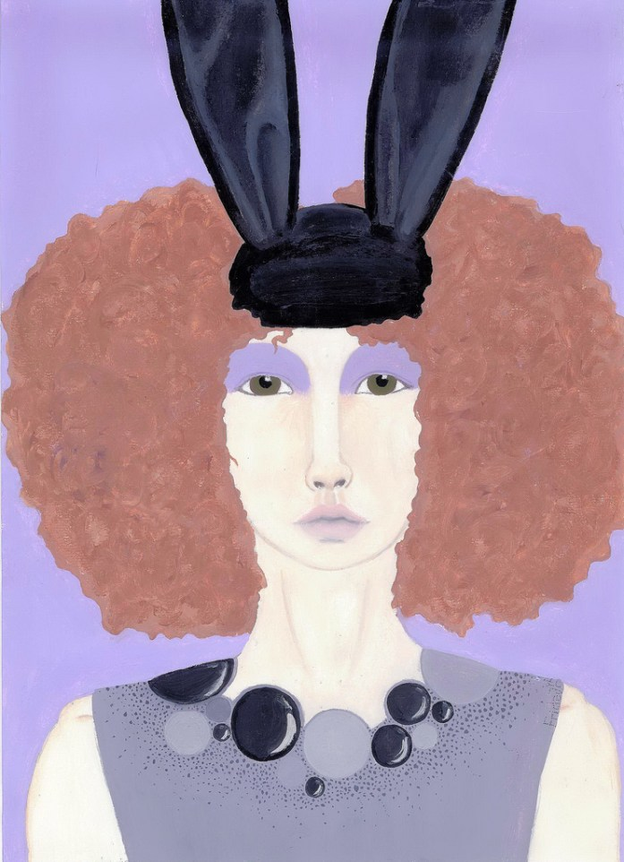 Painting of comme De Garcons Rabbit ear collection lilac afro