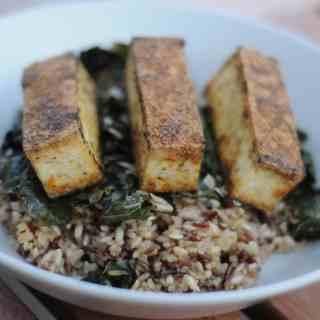 Crispy kale, with wild rice, quinoa, and pan seared tofu