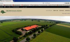 Screenshot: Die neue Internetpräsentation der Niedringhaus GbR (www.niedringhaus-agrar.de) zeigt im Beispiel ein Luftbild vom neuen Ferkelaufzuchtstall an der Stemmer Landstraße. Foto: Jürgen Krüger