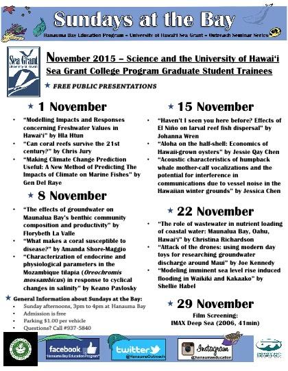 Sundays At The Bay - November 2015 Schedule - Friends of Hanauma Bay
