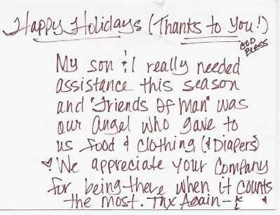 How We Help - Thank You Letters - Thank You for Help with Food and - thank you letters