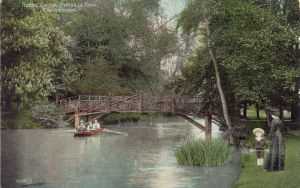 Pittville Park, boating, lake and bridge, 1908 or earlier, in colour